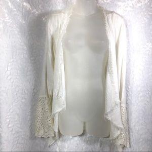 Knox Rose Off white waterfall cardigan jacket L